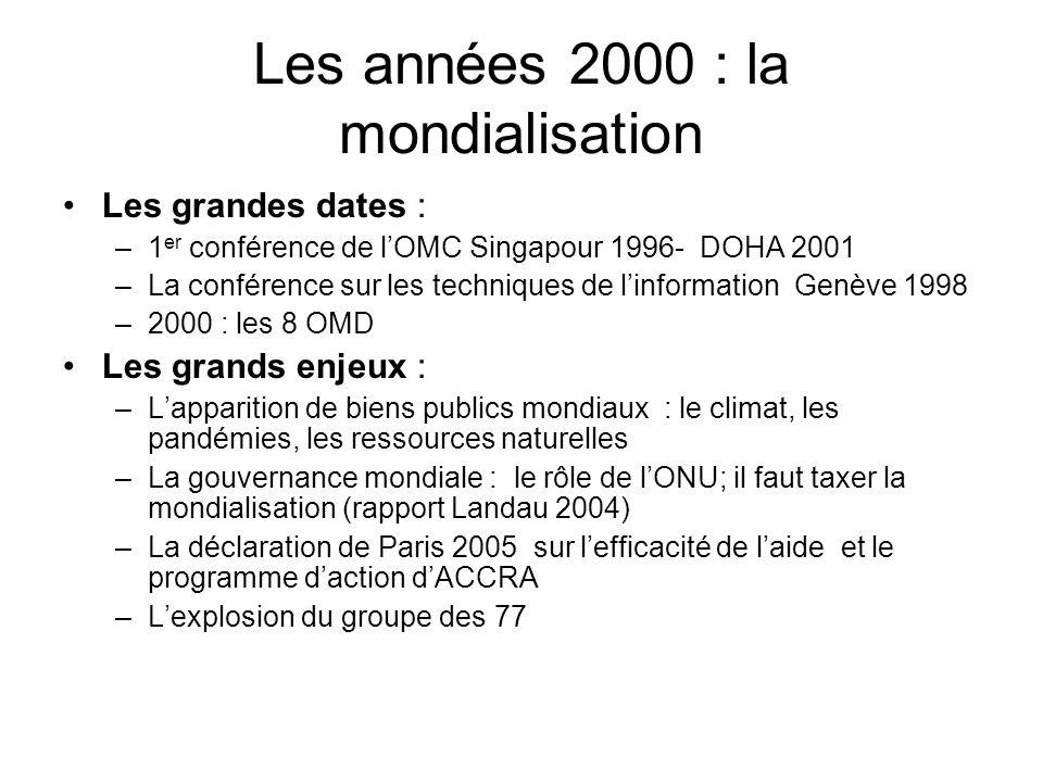 Les années 2000 : la mondialisation Les grandes dates : –1 er conférence de lOMC Singapour 1996- DOHA 2001 –La conférence sur les techniques de linfor