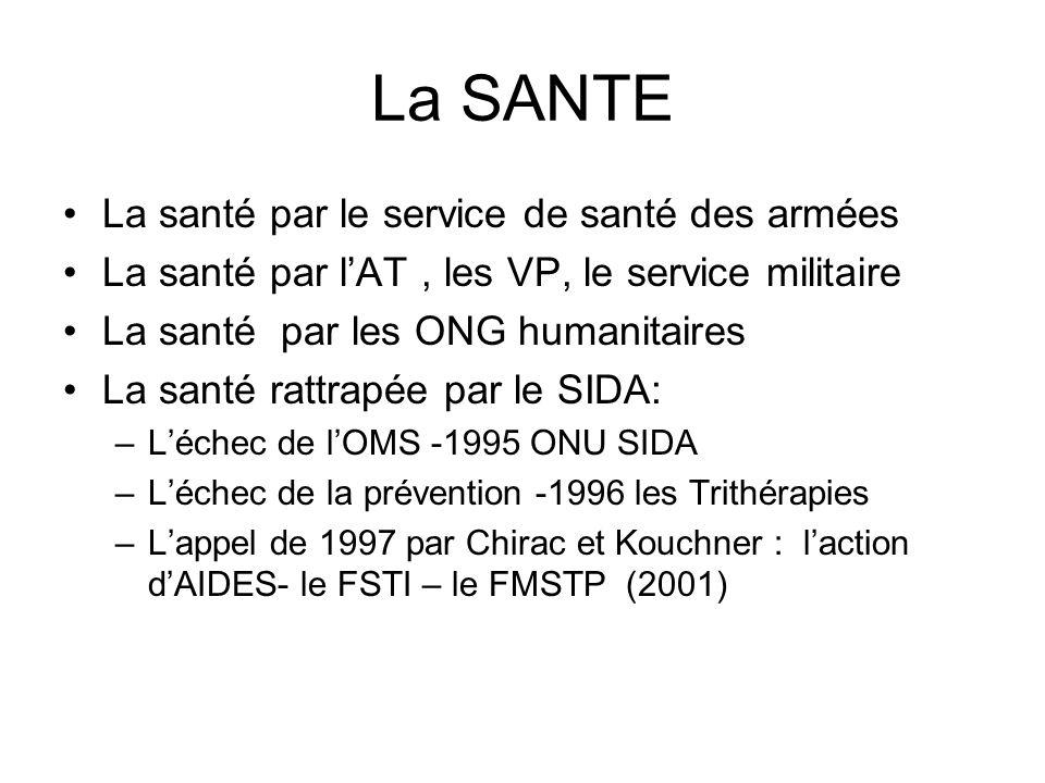La SANTE La santé par le service de santé des armées La santé par lAT, les VP, le service militaire La santé par les ONG humanitaires La santé rattrap