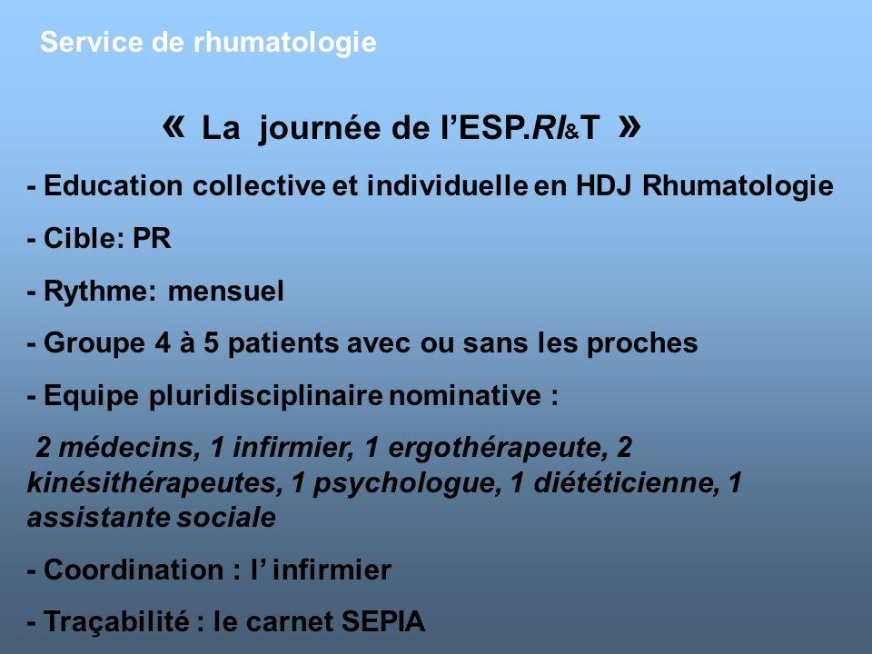 Service de rhumatologie « La journée de lESP.RI & T » - Education collective et individuelle en HDJ Rhumatologie - Cible: PR - Rythme: mensuel - Group
