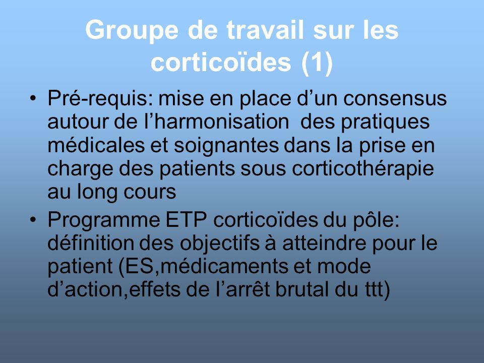 Groupe de travail sur les corticoïdes (1) Pré-requis: mise en place dun consensus autour de lharmonisation des pratiques médicales et soignantes dans