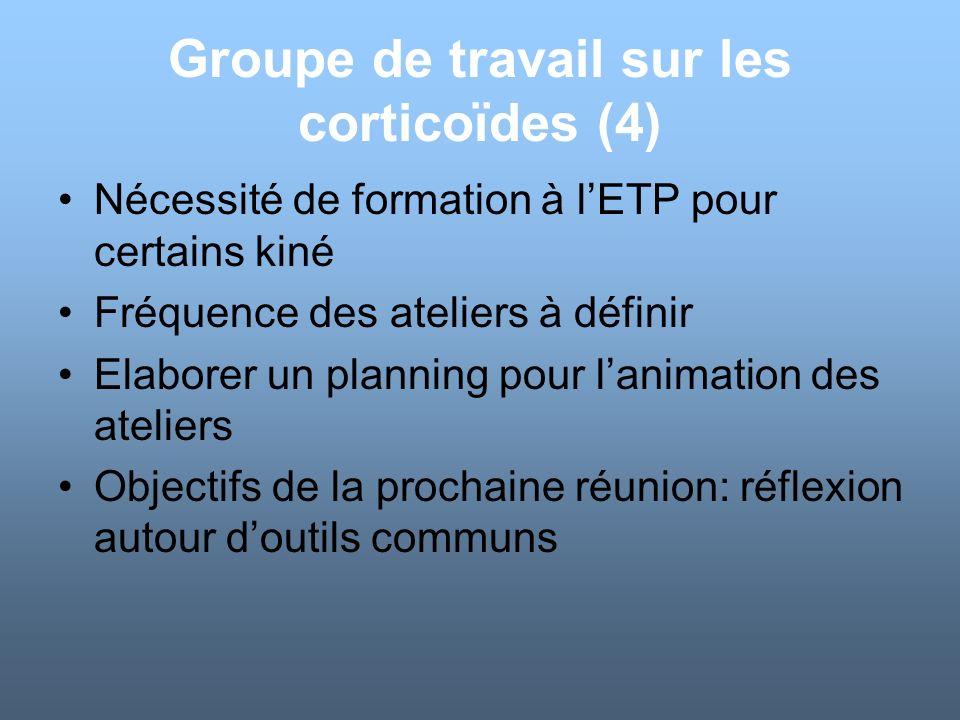 Groupe de travail sur les corticoïdes (4) Nécessité de formation à lETP pour certains kiné Fréquence des ateliers à définir Elaborer un planning pour