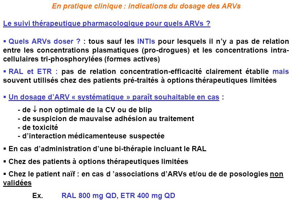 Un dosage dARV « systématique » paraît souhaitable en cas : - de non optimale de la CV ou de blip - de suspicion de mauvaise adhésion au traitement -