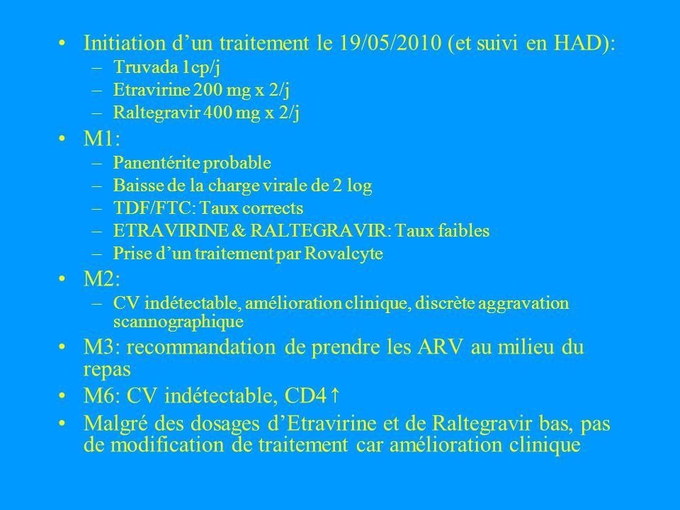Initiation dun traitement le 19/05/2010 (et suivi en HAD): –Truvada 1cp/j –Etravirine 200 mg x 2/j –Raltegravir 400 mg x 2/j M1: –Panentérite probable