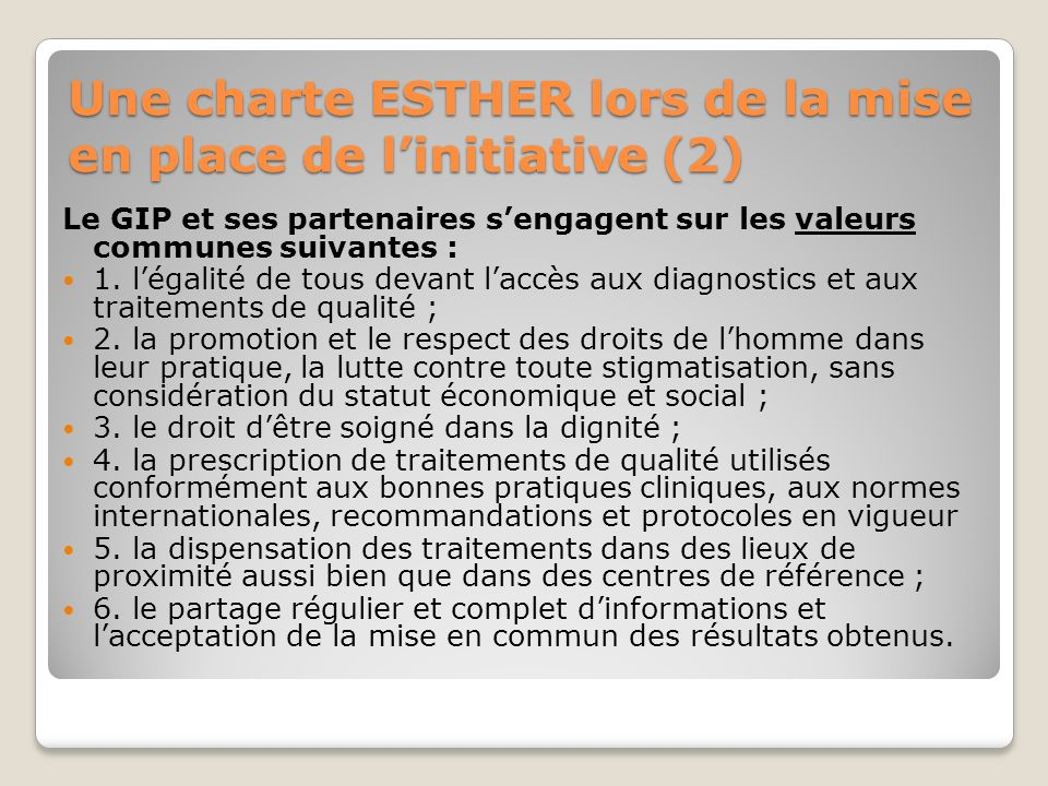 Une charte ESTHER lors de la mise en place de linitiative (3) Le GIP et ses partenaires saccordent sur les stratégies et moyens : 1.