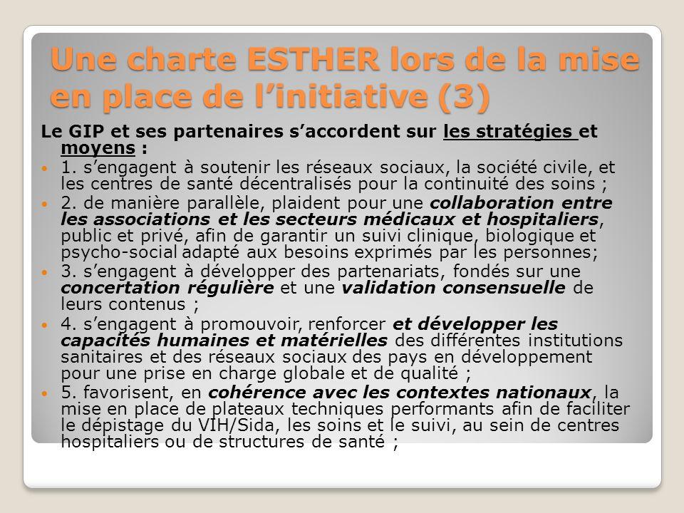 Une charte ESTHER lors de la mise en place de linitiative (3) Le GIP et ses partenaires saccordent sur les stratégies et moyens : 1. sengagent à soute