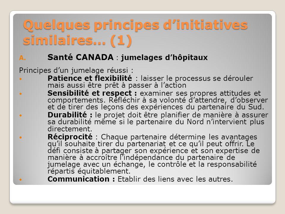 Quelques principes dinitiatives similaires… (1) A. Santé CANADA : jumelages dhôpitaux Principes dun jumelage réussi : Patience et flexibilité : laisse