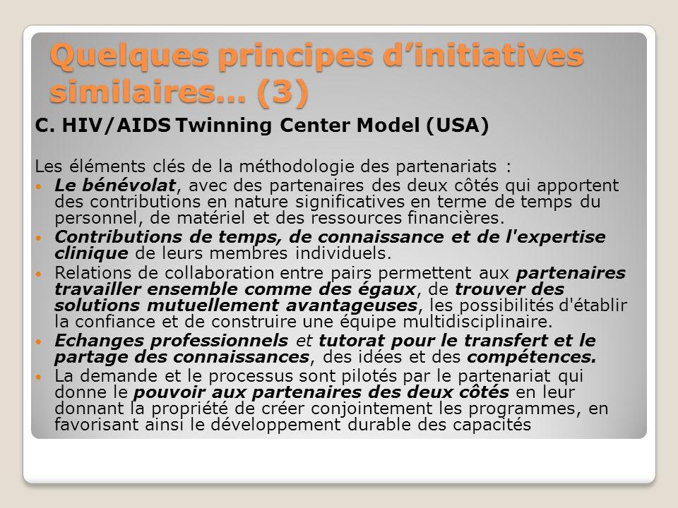Quelques principes dinitiatives similaires… (3) C. HIV/AIDS Twinning Center Model (USA) Les éléments clés de la méthodologie des partenariats : Le bén