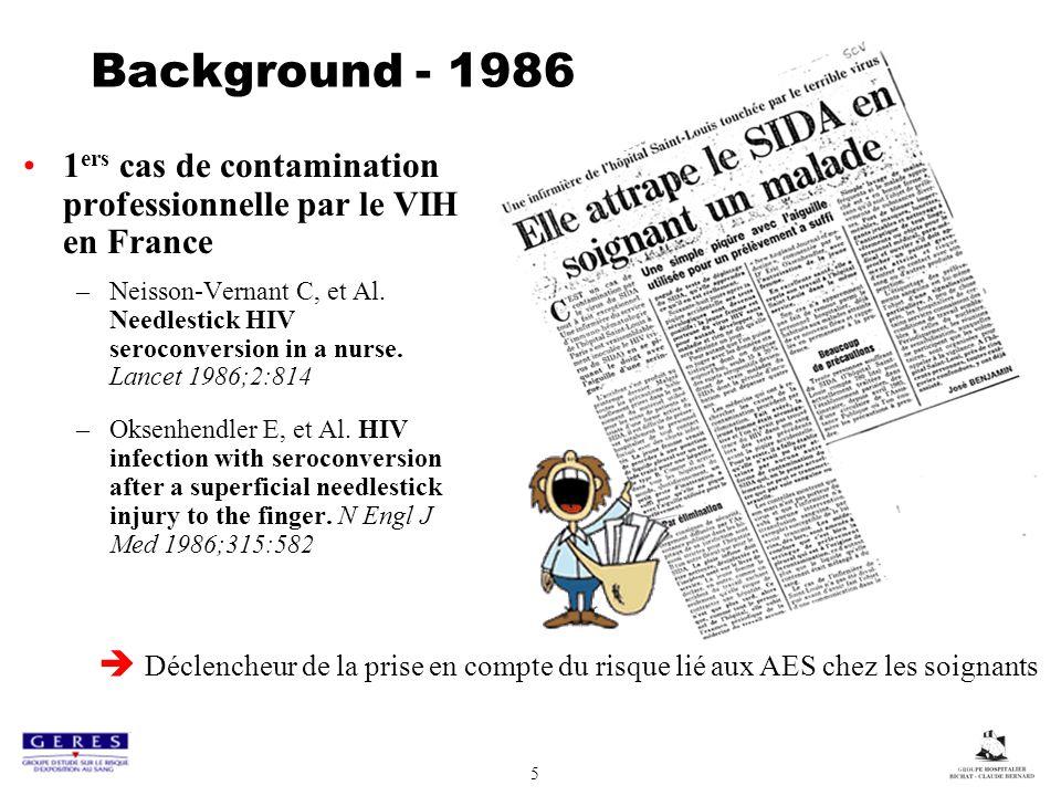5 Background - 1986 1 ers cas de contamination professionnelle par le VIH en France –Neisson-Vernant C, et Al. Needlestick HIV seroconversion in a nur