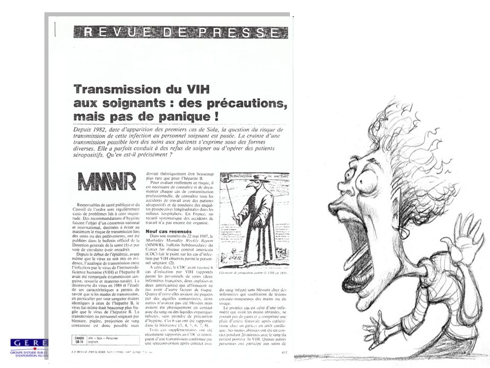 Séroconversions VIH professionnelles situation au 31/12/07 (1)