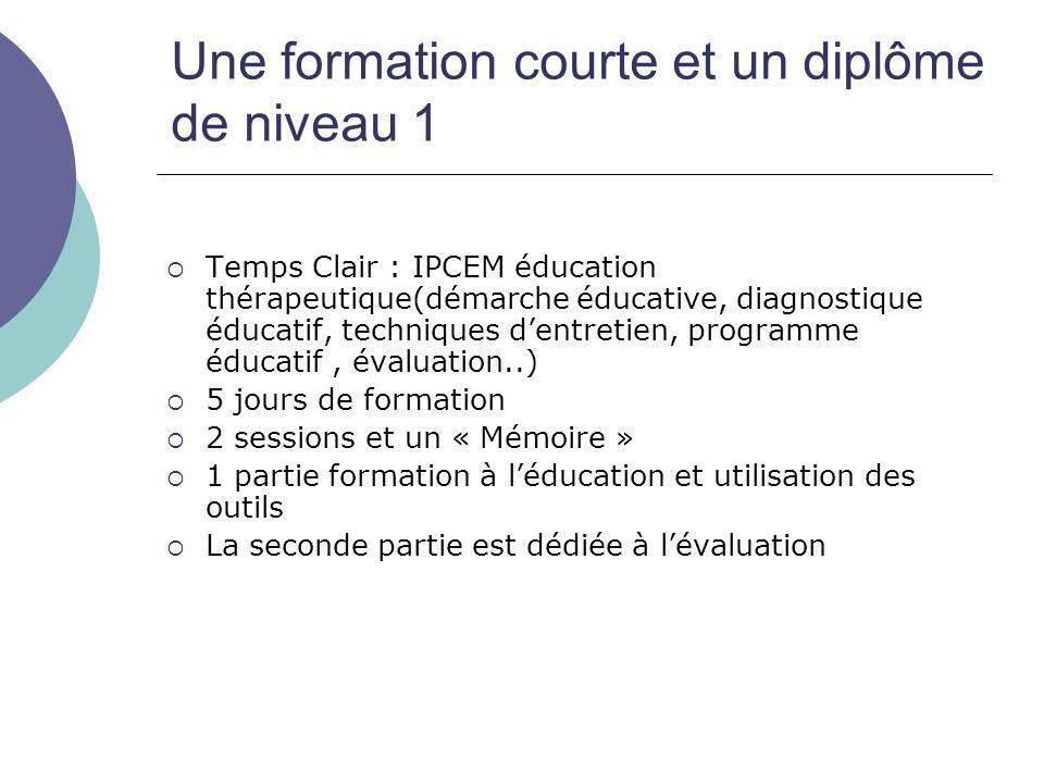 Une formation courte et un diplôme de niveau 1 Temps Clair : IPCEM éducation thérapeutique(démarche éducative, diagnostique éducatif, techniques dentr