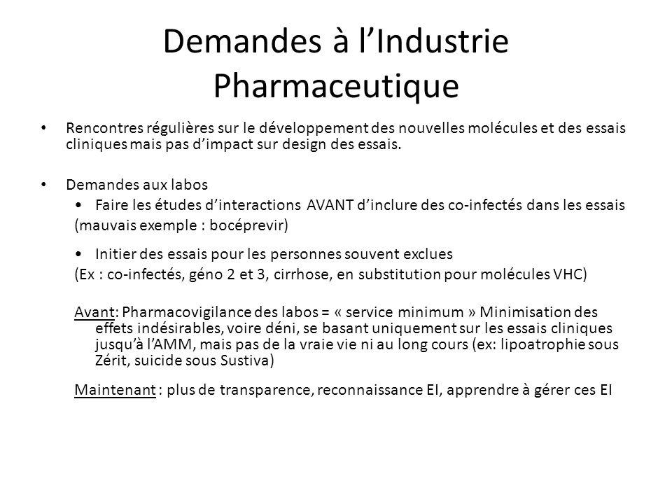 Demandes à lIndustrie Pharmaceutique Rencontres régulières sur le développement des nouvelles molécules et des essais cliniques mais pas dimpact sur design des essais.