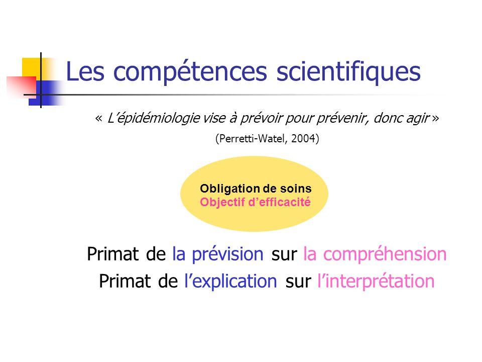 Les compétences scientifiques « Lépidémiologie vise à prévoir pour prévenir, donc agir » (Perretti-Watel, 2004) Primat de la prévision sur la compréhension Primat de lexplication sur linterprétation Obligation de soins Objectif defficacité