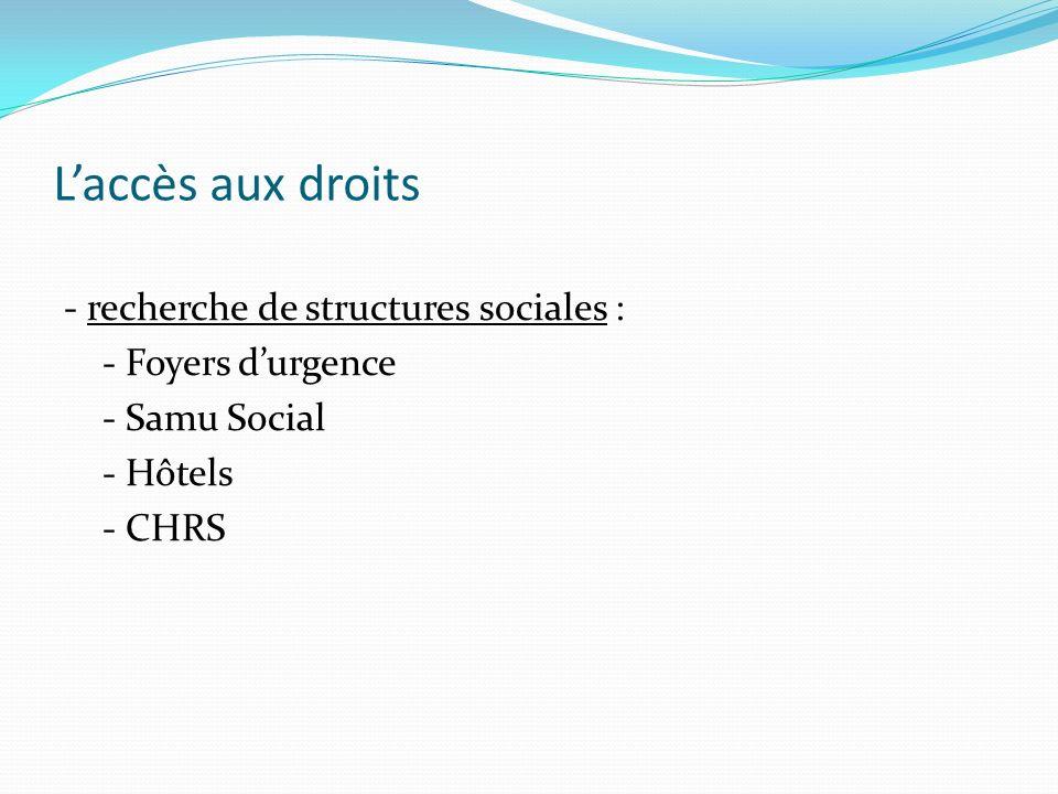 Laccès aux droits - recherche de structures sociales : - Foyers durgence - Samu Social - Hôtels - CHRS