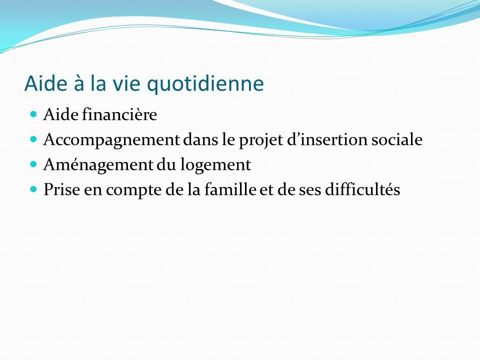 Aide à la vie quotidienne Aide financière Accompagnement dans le projet dinsertion sociale Aménagement du logement Prise en compte de la famille et de ses difficultés