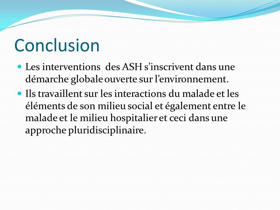 Conclusion Les interventions des ASH sinscrivent dans une démarche globale ouverte sur lenvironnement.