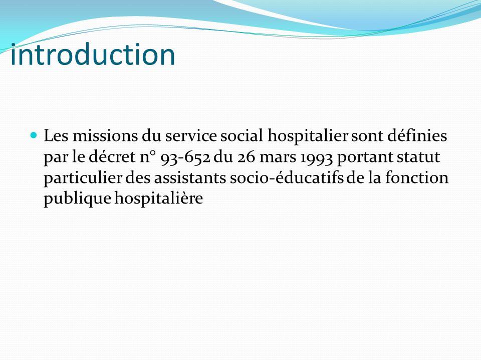 introduction Les missions du service social hospitalier sont définies par le décret n° 93-652 du 26 mars 1993 portant statut particulier des assistants socio-éducatifs de la fonction publique hospitalière
