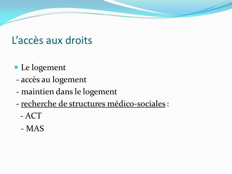 Laccès aux droits Le logement - accès au logement - maintien dans le logement - recherche de structures médico-sociales : - ACT - MAS