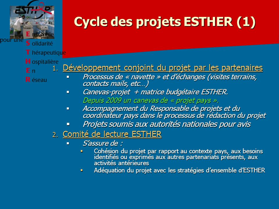 Cycle des projets ESTHER (1) 1.