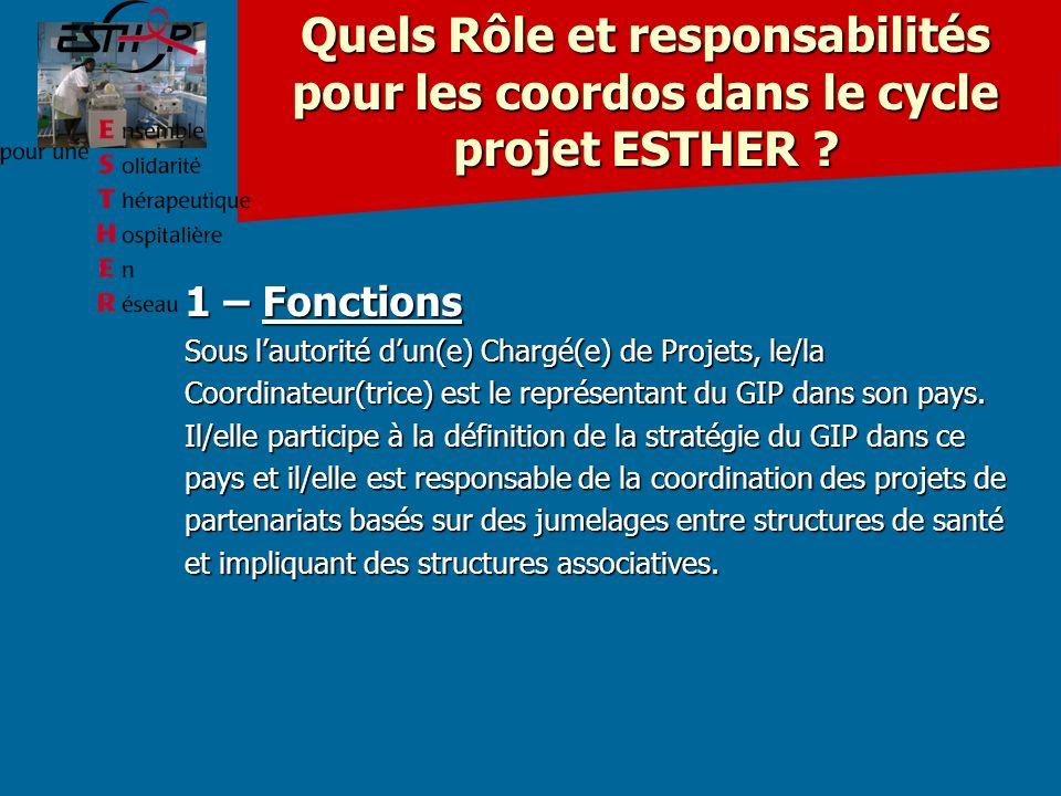 Quels Rôle et responsabilités pour les coordos dans le cycle projet ESTHER .
