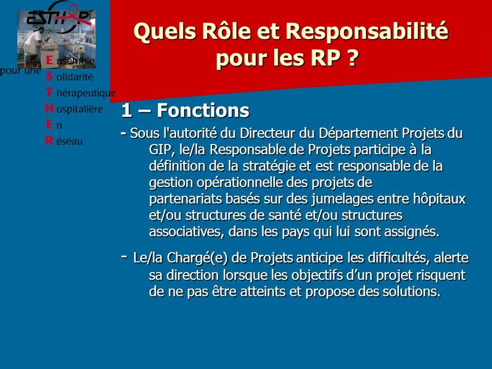 Quels Rôle et Responsabilité pour les RP .Quels Rôle et Responsabilité pour les RP .