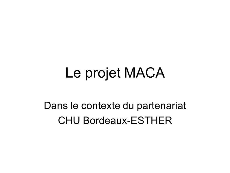 Le projet MACA Dans le contexte du partenariat CHU Bordeaux-ESTHER