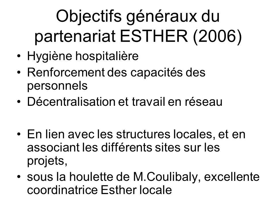 Objectifs généraux du partenariat ESTHER (2006) Hygiène hospitalière Renforcement des capacités des personnels Décentralisation et travail en réseau E