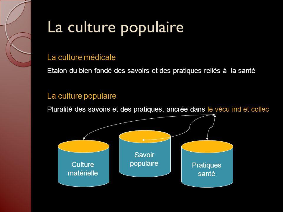 La culture populaire La culture médicale Etalon du bien fondé des savoirs et des pratiques reliés à la santé La culture populaire Pluralité des savoir