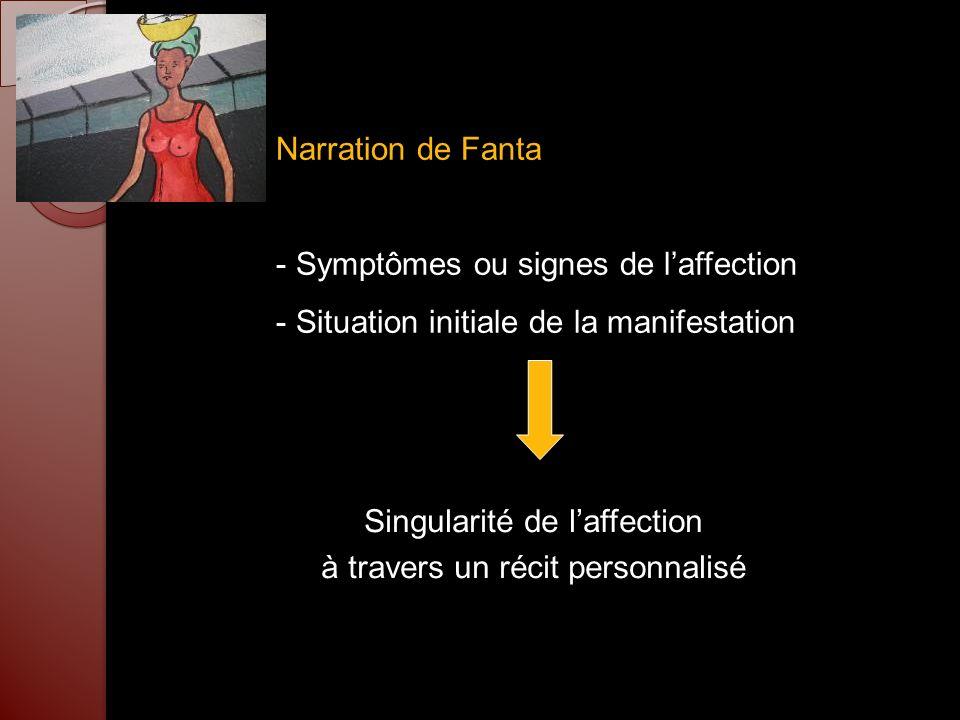 Narration de Fanta - Symptômes ou signes de laffection - Situation initiale de la manifestation Singularité de laffection à travers un récit personnal
