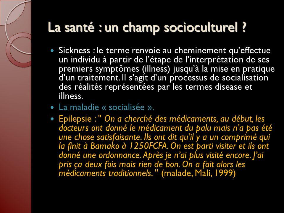 La santé : un champ socioculturel ? Sickness : le terme renvoie au cheminement queffectue un individu à partir de létape de linterprétation de ses pre