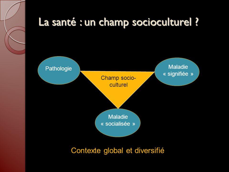 La santé : un champ socioculturel ? Pathologie Maladie « signifiée » Maladie « socialisée » Champ socio- culturel Contexte global et diversifié