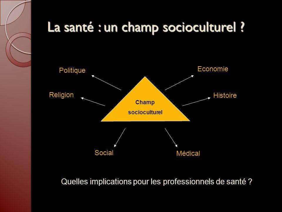 La santé : un champ socioculturel ? Champ socioculturel Histoire Economie Politique Religion Social Médical Quelles implications pour les professionne