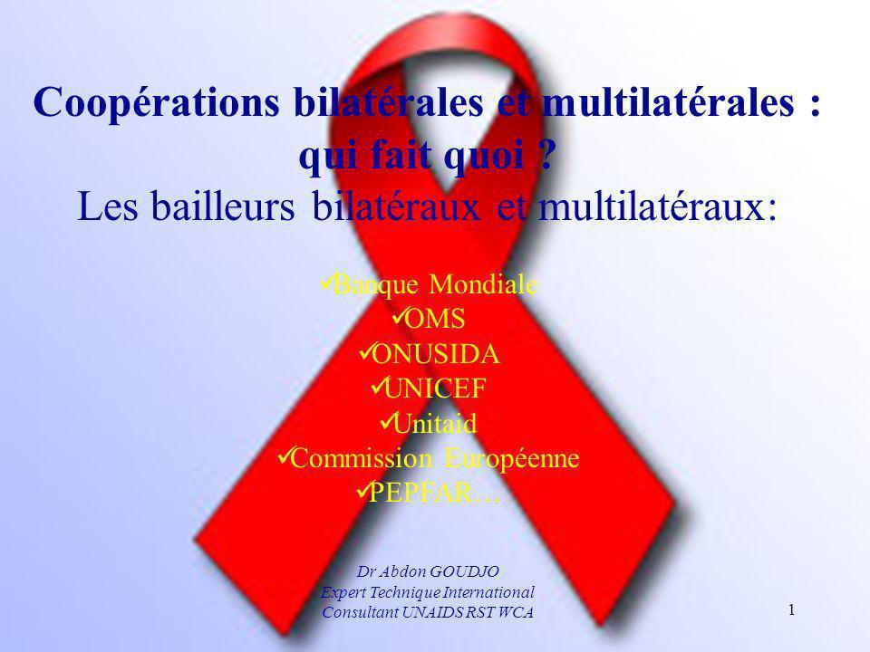 Coopérations bilatérales et multilatérales : qui fait quoi ? Les bailleurs bilatéraux et multilatéraux: Banque Mondiale OMS ONUSIDA UNICEF Unitaid Com
