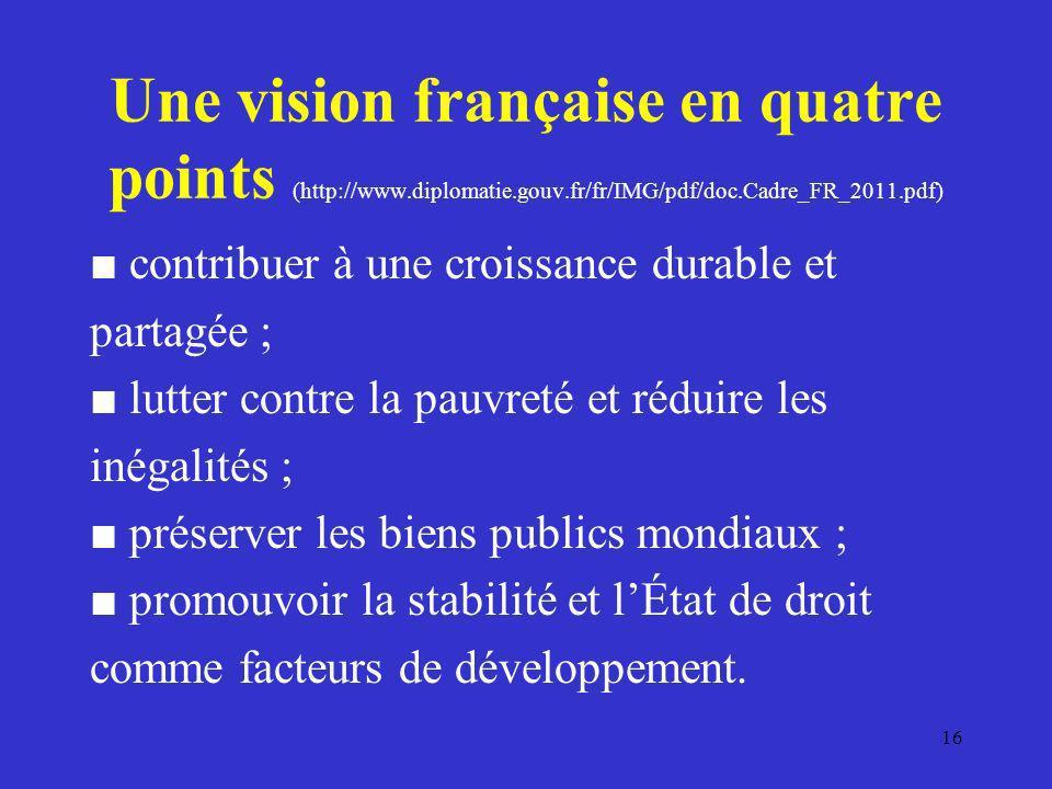 Une vision française en quatre points (http://www.diplomatie.gouv.fr/fr/IMG/pdf/doc.Cadre_FR_2011.pdf) contribuer à une croissance durable et partagée