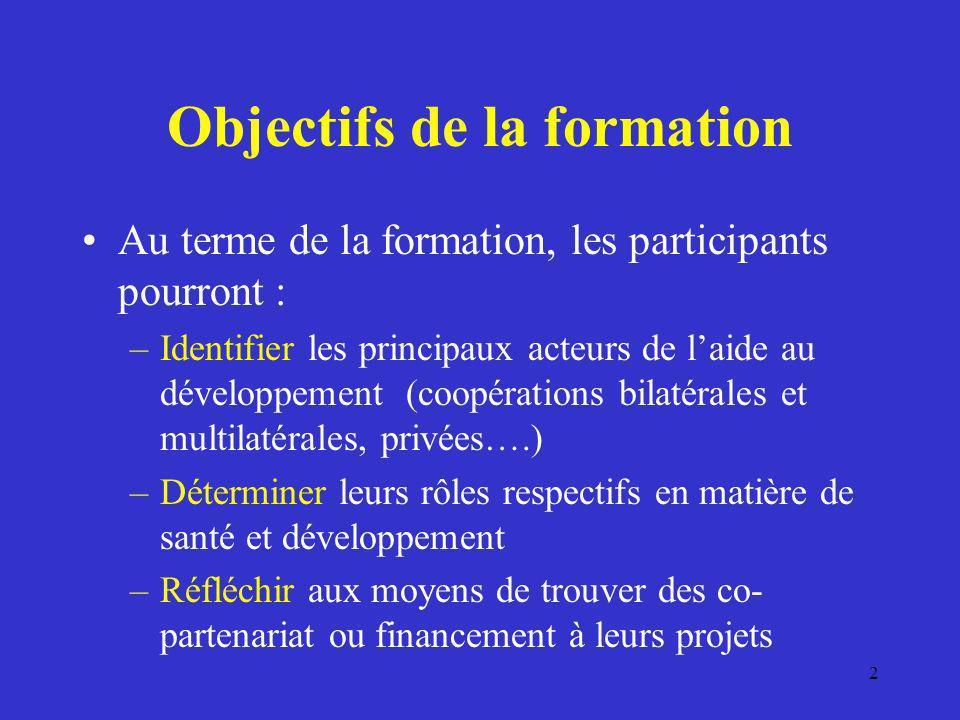 Objectifs de la formation Au terme de la formation, les participants pourront : –Identifier les principaux acteurs de laide au développement (coopérat