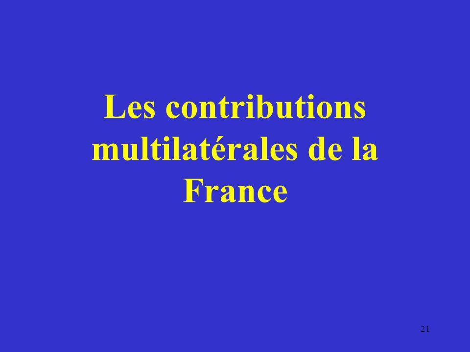 Les contributions multilatérales de la France 21