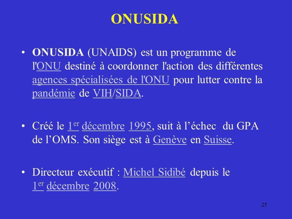 ONUSIDA ONUSIDA (UNAIDS) est un programme de l'ONU destiné à coordonner l'action des différentes agences spécialisées de l'ONU pour lutter contre la p