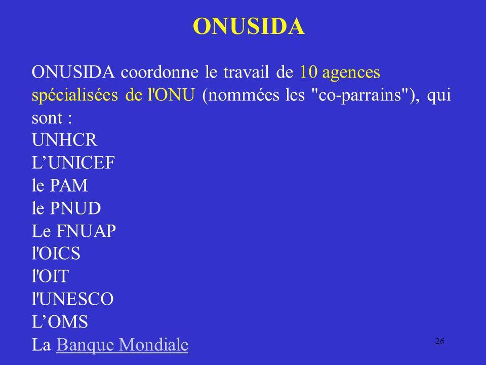 26 ONUSIDA ONUSIDA coordonne le travail de 10 agences spécialisées de l'ONU (nommées les