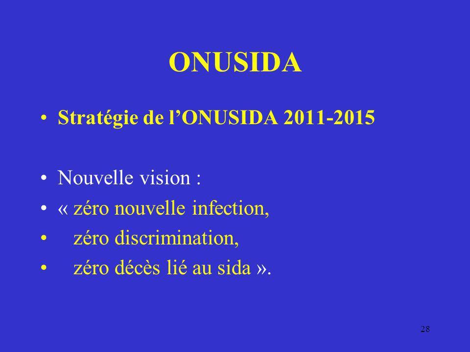 ONUSIDA Stratégie de lONUSIDA 2011-2015 Nouvelle vision : « zéro nouvelle infection, zéro discrimination, zéro décès lié au sida ». 28