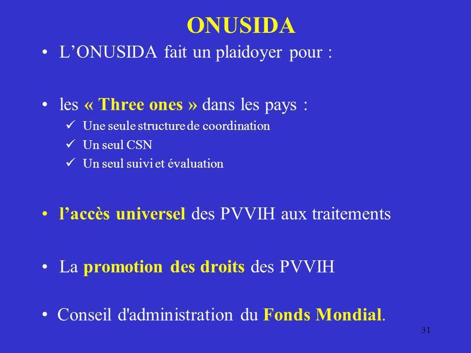 31 ONUSIDA LONUSIDA fait un plaidoyer pour : les « Three ones » dans les pays : Une seule structure de coordination Un seul CSN Un seul suivi et évalu