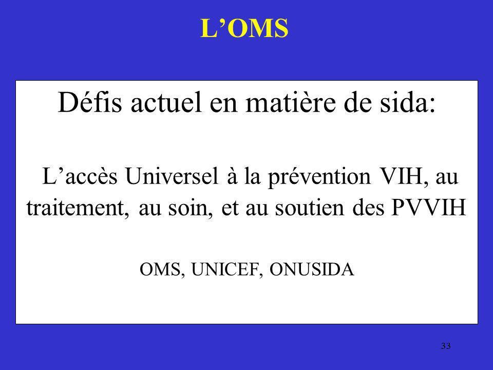 33 Défis actuel en matière de sida: Laccès Universel à la prévention VIH, au traitement, au soin, et au soutien des PVVIH OMS, UNICEF, ONUSIDA LOMS
