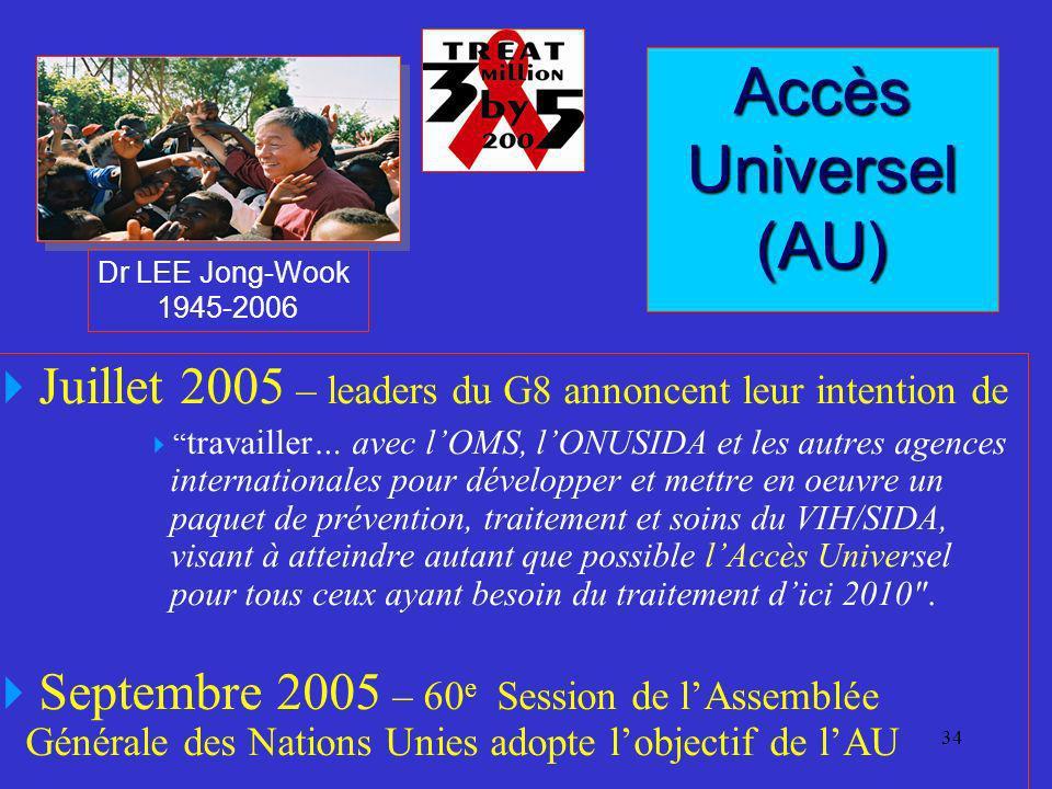 34 Juillet 2005 – leaders du G8 annoncent leur intention de travailler… avec lOMS, lONUSIDA et les autres agences internationales pour développer et m