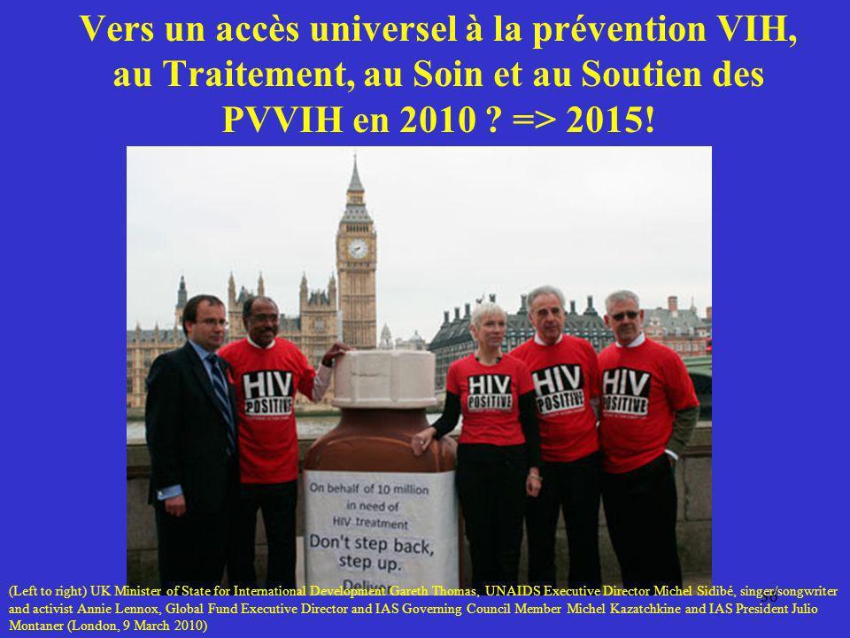 36 Vers un accès universel à la prévention VIH, au Traitement, au Soin et au Soutien des PVVIH en 2010 ? => 2015! 36 (Left to right) UK Minister of St