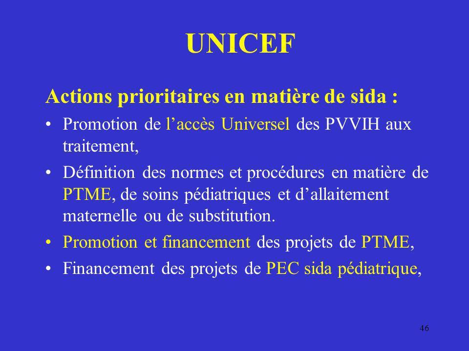 46 UNICEF Actions prioritaires en matière de sida : Promotion de laccès Universel des PVVIH aux traitement, Définition des normes et procédures en mat