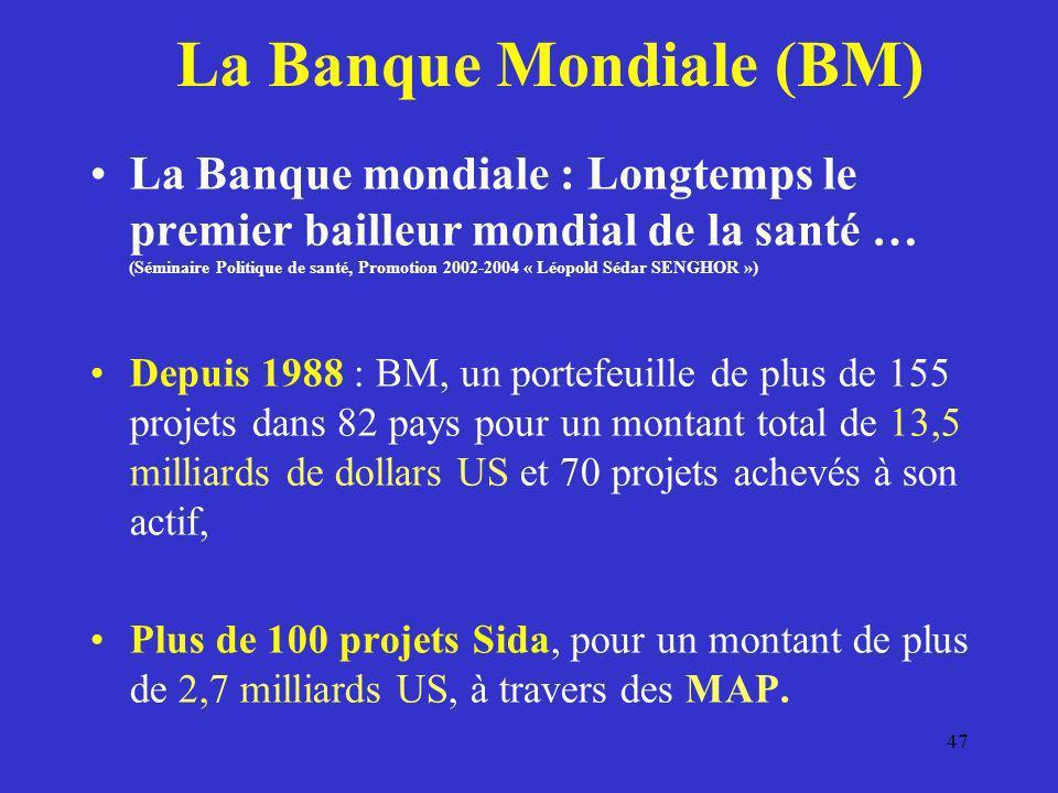 47 La Banque Mondiale (BM) La Banque mondiale : Longtemps le premier bailleur mondial de la santé … (Séminaire Politique de santé, Promotion 2002-2004