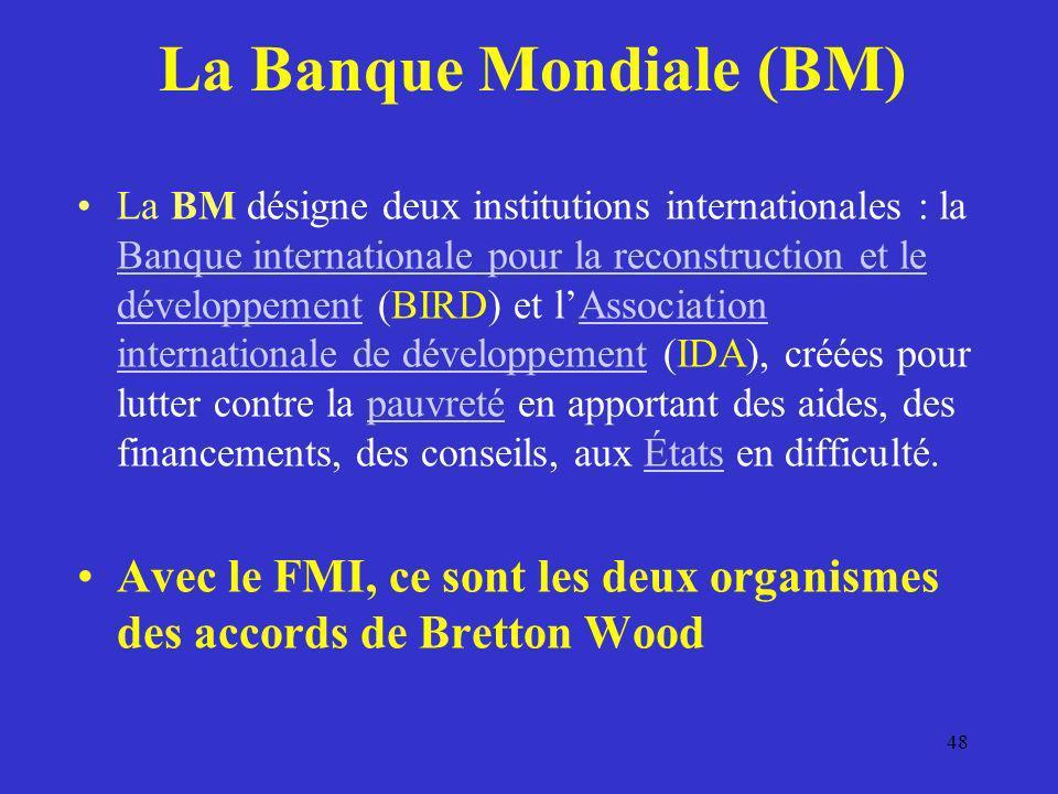 La Banque Mondiale (BM) La BM désigne deux institutions internationales : la Banque internationale pour la reconstruction et le développement (BIRD) e