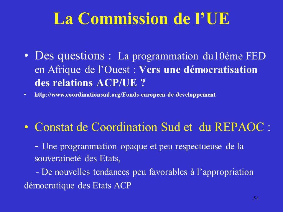 La Commission de lUE Des questions : La programmation du10ème FED en Afrique de lOuest : Vers une démocratisation des relations ACP/UE ? http://www.co