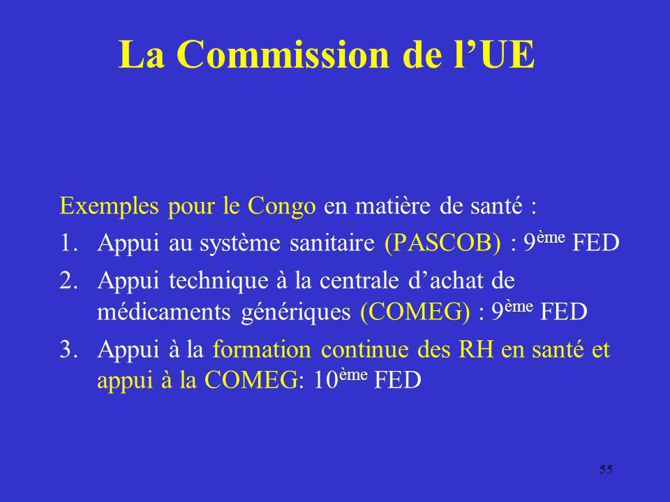 La Commission de lUE Exemples pour le Congo en matière de santé : 1.Appui au système sanitaire (PASCOB) : 9 ème FED 2.Appui technique à la centrale da
