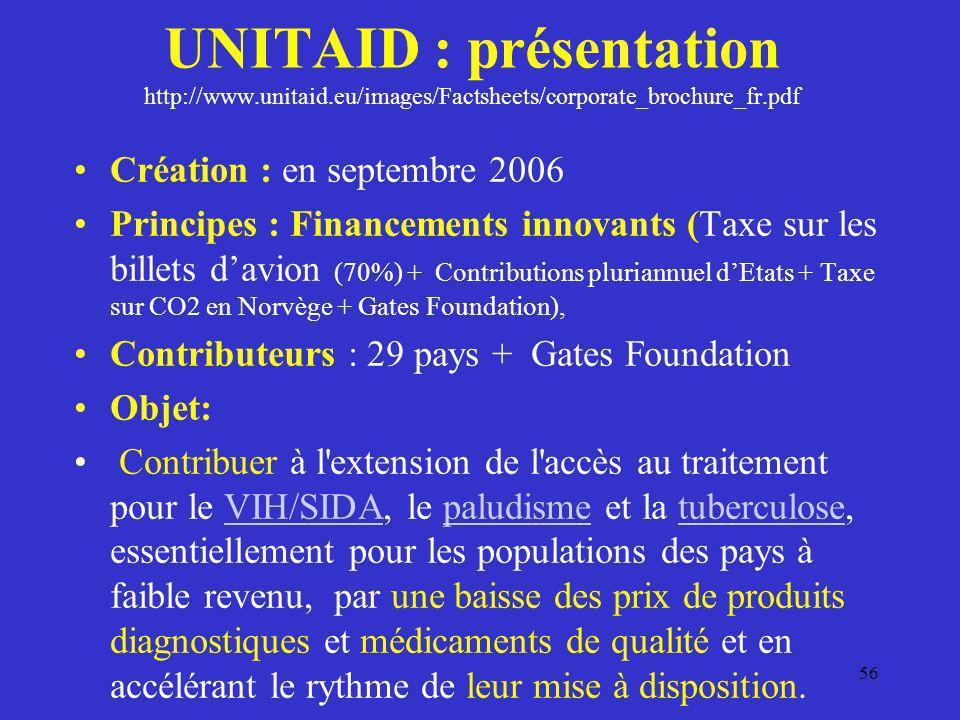 UNITAID : présentation http://www.unitaid.eu/images/Factsheets/corporate_brochure_fr.pdf Création : en septembre 2006 Principes : Financements innovan