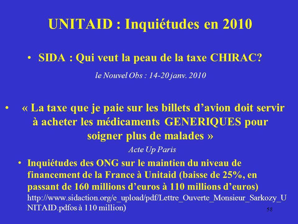 UNITAID : Inquiétudes en 2010 SIDA : Qui veut la peau de la taxe CHIRAC? le Nouvel Obs : 14-20 janv. 2010 « La taxe que je paie sur les billets davion