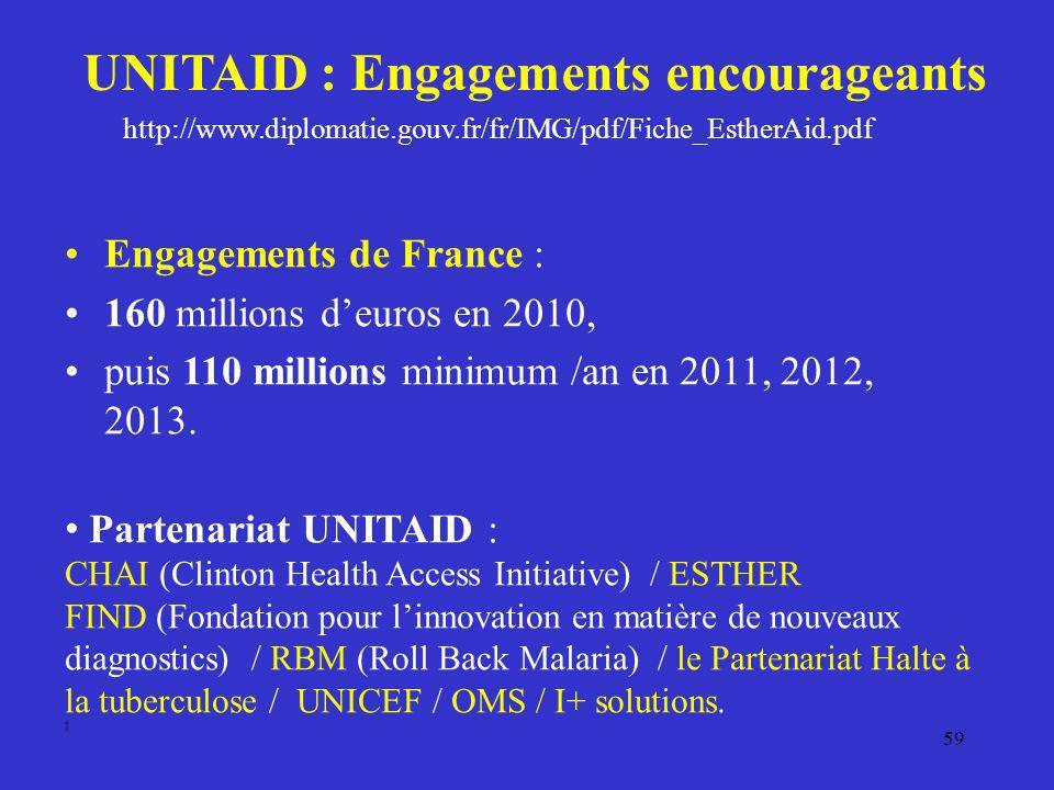 59 UNITAID : Engagements encourageants Engagements de France : 160 millions deuros en 2010, puis 110 millions minimum /an en 2011, 2012, 2013. Partena